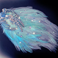 Feather fascinator, blue phoenix feather comb, blue and grey hairpiece, crystal hair jewelry, Spring races, hair accessories, boho hair,OOAK