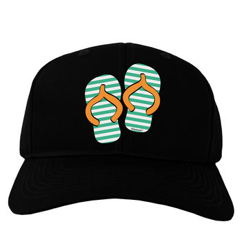 Striped Flip Flops - Teal and Orange Adult Dark Baseball Cap Hat