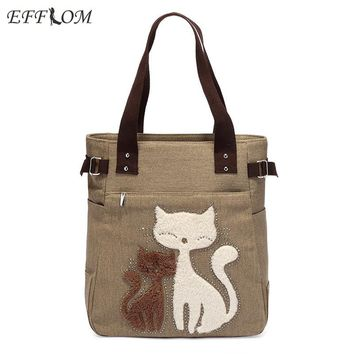 EFFLOM New Casual Women Handbag Canvas Shoulder Bag With Cat Appliques Ladies Portable Large Shopping Tote Bag Cotton Fabric Bag