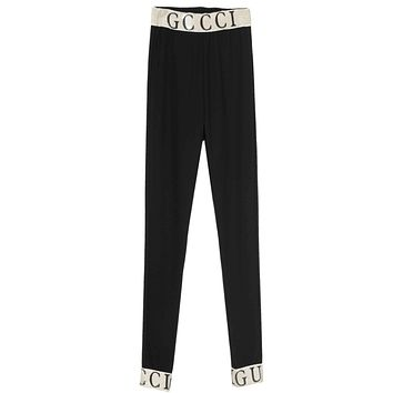 GUCCI New Fashion Elastic High Quality Leggings Keep Warm Thick Pants Women Black