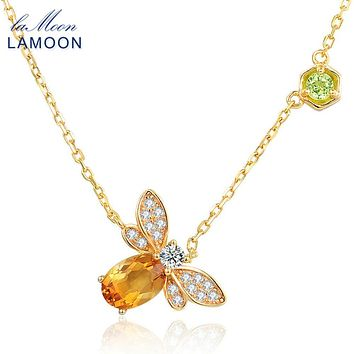LAMOON Little Bee 14K Yellow Gold Pendant Necklace For Women Natural Citrine 925 Sterling Silver Fine Jewelry Bijoux NI015