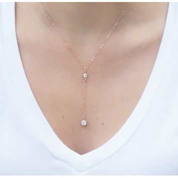 Rose Gold Y Necklace