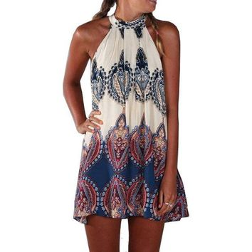 CREYHY3 Sexy Summer Beach Style Womens Loose Fashion Multicolor Sleeveless Halter Geometric Print Vintage Paisley Short Dress Vestido