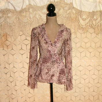Purple Animal Print Blouse Sheer Silk Blouse Wrap Blouse Long Sleeve Blouse Romantic Edgy Boho Top Karen Kane Size 8 Medium Womens Clothing