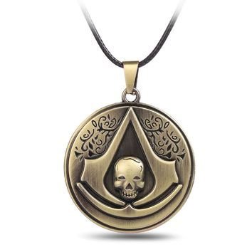 Assassins Creed Syndicate Ezio Deiss Mond Necklaces For Men Women Collier Homme Male Neckless Choker Colar Masculino
