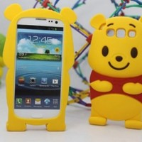 niceEshop Yellow Disney Winnie The Pooh Bear Soft Silicone Case Cover fit for the Samsung Galaxy S3 i9300 +Free Screen Protector