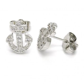 Rhodium Layered 02.199.0019.1 Stud Earring, Anchor and Cross Design, with White Micro Pave, Polished Finish, Rhodium Tone