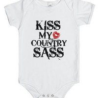 Kiss My Country Sass (one Piece)-Unisex White Baby Onesuit 00
