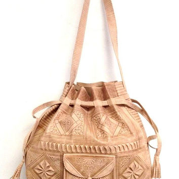 Moroccan Tribal Natural Beige Embossed Leather Bag Hobo Handbag