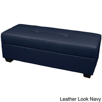 "Vanderbilt Tufted Padded Hinged 48"" x 19"" Loveseat Storage Ottoman Bench 