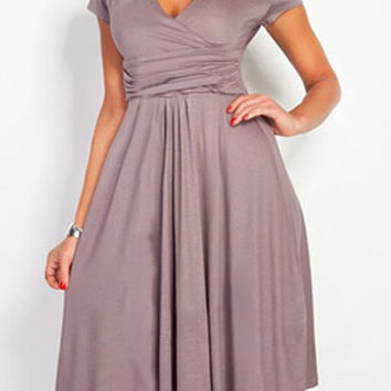 Coffee V Neck Ruched Waist Midi Dress
