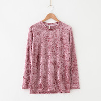 Buy LEMONADE Long-Sleeve Velvet T-Shirt | YesStyle