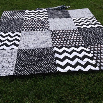 SAMPLE Black and White Chevron Skull Waterproof Beach Blanket Custom - Picnic Blanket - Outdoor Blanket  (00)