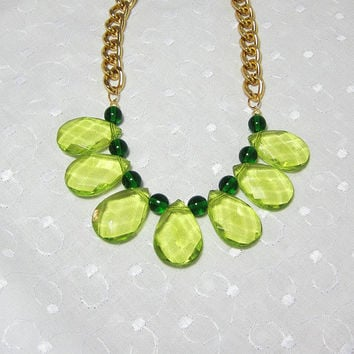 Emerald and Spring Green Statement Necklace on Gold Big Links Chain
