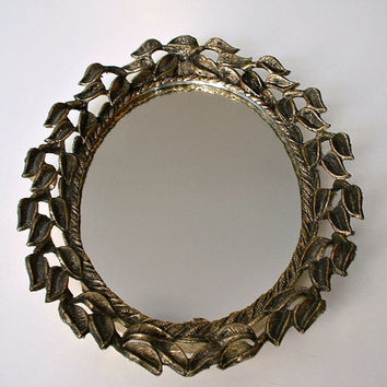 Vintage Ornate Mirror Oval E. A. Riba Brooklyn, N.Y.  Gold Tone Frame Metal Leaf Pattern Wall Hanging