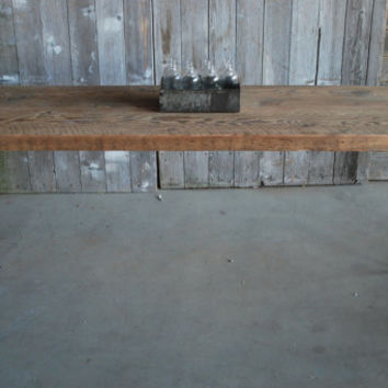 "rustic meets mid-century, wood and steel table. custom made to size. 72"" l x 30"" w x 30""  tall"