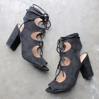 suede lace-up booties - black