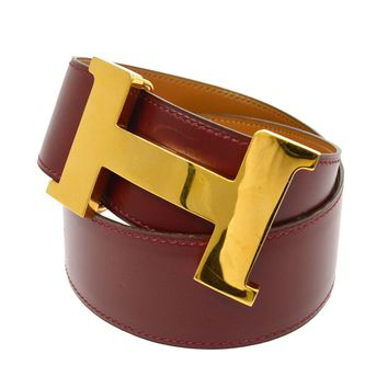 Auth HERMES Constance H Buckle Belt Bordeaux Leather Vintage France #70 V14031