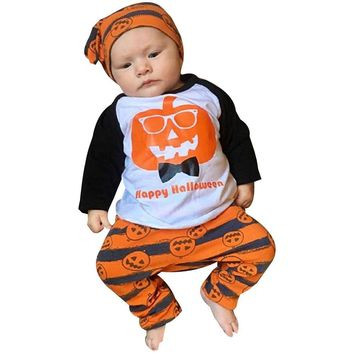 Children's clothing set Halloween Toddler Baby Boys Pumpkin Tops Striped Pants Outfits 3Pcs Set Clothes Kid autumn winter suit