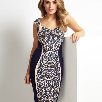 Blue Jacquad Print Sleeveless Bodycon Midi Dress