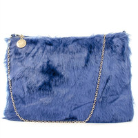 Furry Friend Faux Fur Clutch (Blue,Orange)