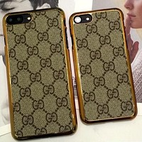 GUCCI IPhone 6plus phone case iphone7plus protective cover golden luxury