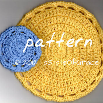 Pattern - Facial Scrubbie & Washcloth / Round Dishcloth Crochet Pattern - 6 Sizes- TREASURY item - INSTANT DOWNLOAD