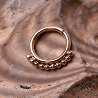 SEPTUM RING / EAR /Cartilage Yellow Gold Filled Hoop 16 gauge with outer line of dots - Handcrafted