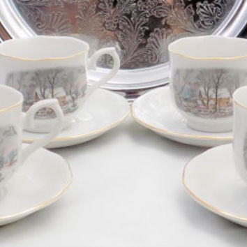 Currier & Ives Cups and Saucers, Snow Scene, Teacups and Saucers, Avon Sales Award