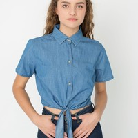 rsa0367sd - Denim Mid-Length Tie-Up Blouse
