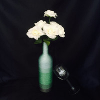 Beautifully decorated, vase, twine covered, Repurposed Wine bottle, gift, centerpiece, home decor, photographers prop, wedding centerpiece