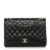 CHANEL Lambskin Quilted Maxi Double Flap Black