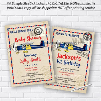 Airplane Baby Shower Invitation, OR birthday party invite, little boy party , 1st 2nd 3rd 4th 5th kids Invitation Card - card 854