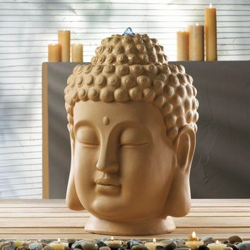 Calming Buddha Head Ceramic Tabletop Water Fountain
