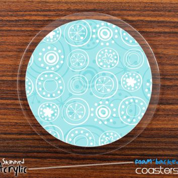 The Blue Fun Circles Skinned Foam-Backed Coaster Set