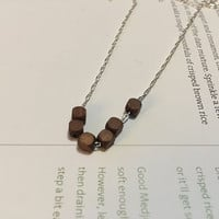 Minimalist/Naturalist Necklace, Dark Wood Faceted Beads on Sterling-silver Plated Chain