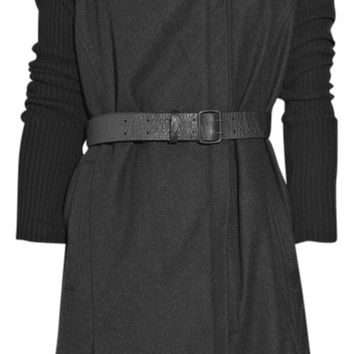 Helmut Lang Black Gray Wool Trench Coat