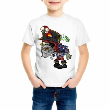 Plants vs. Zombies Cartoon Pirate Children T Shirt Designs Teen Boys Kids Clothing For Boys Baby Clothing Girls T-Shirts 55C-4