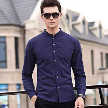 2017 Men Shirt Chemise Homme Linen Shirts Men Long Sleeves Blouse Mandarin Collar Tops Brand Clothing Casual Shirt plus size