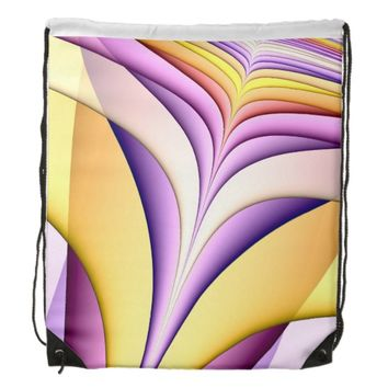 Pastel coloured fractal. Yellow, pink, purple. Drawstring Backpack