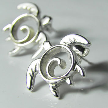 Sea Turtle Earrings - Turtle Post Earrings - Sterling Silver Turtle Jewelry - Unique Swirl Turtle Totem Earrings