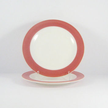 Mid-Century Pink Pyrex, Flamingo Pink Dinner Plates, Mod Dinner Plates, Set of Two