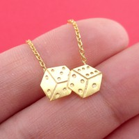 Rolling Dices Lucky Dice Shaped Pendant Necklace in Gold