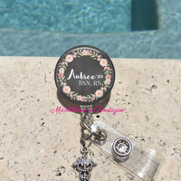 Retractable Badge Holder, Floral Chalkboard Personalized Badge Reel, Monogram Badge Reel, Nurse Badge Reel, Badge Holder, MB302