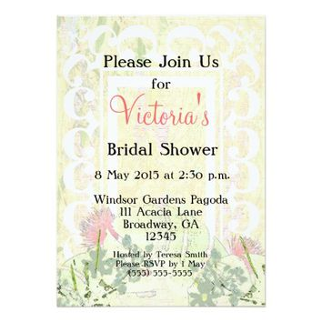 Customizable Tropical Victorian Bridal Party - 5x7 Paper Invitation Card