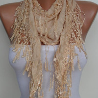 New - Gift - Christmas Gift Scarf - Tan Color Scarf with Trim Edge