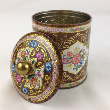 Vintage Daher Tin Brown & Pink Floral Storage Tin with Lid Bohemian Storage Canister Colorful Flowers Cottage Chic Storage Solutions