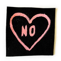 "Punk Feminist ""NO"" Glitter Heart Patch in Pink"