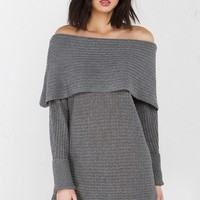 Off The Shoulder Knit Dress in Pink, Charcoal and Mocha