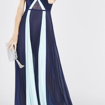 Navy Blue BCBG Caia Sleeveless Color-Blocked Gown